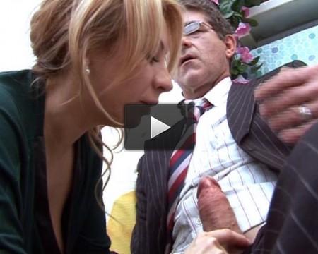 Busty secretary goes anal