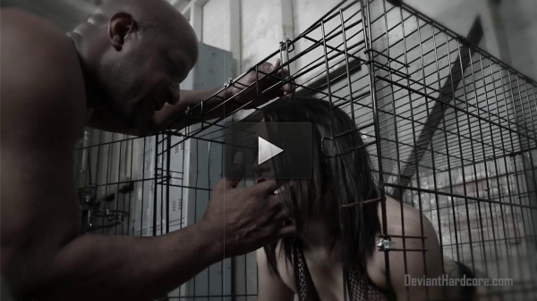 Caged Gabi Paltrova sucks big black cock