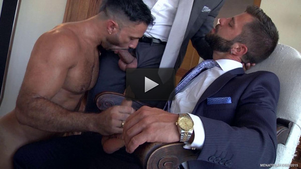 Fuck boss in two trunks! (hard dick, anal sex, take turns)