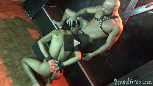 Bound Area — Tough SM stud handles his nude cuffed twink-sub