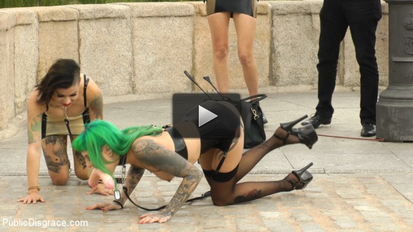 Two Slutty Whores Disgraced in Spanish Extreme Public Orgy!