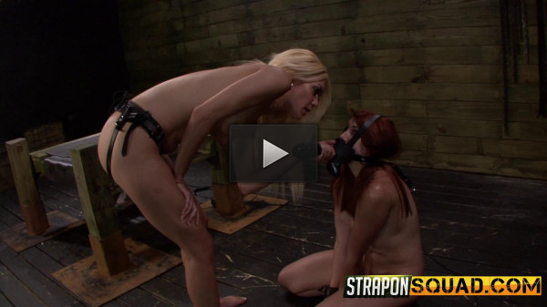 Strapon Dildo Deepthroat BJ & Rough Sex in Bondage with Mila Blaza & Rose Red Tyrell