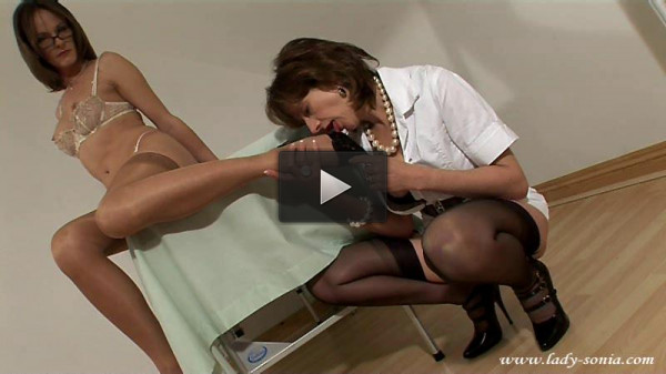 TS Lady Sonia and Rebecca — Stockings Spike Heels and Cum
