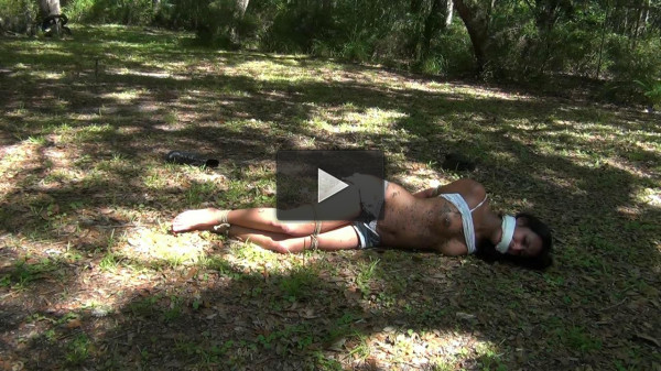 Hard bondage and hogtie for hot latina girl on the outdoor