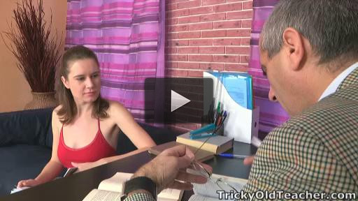 This student gets good grades because she lets the teacher spunk all over her little tits!