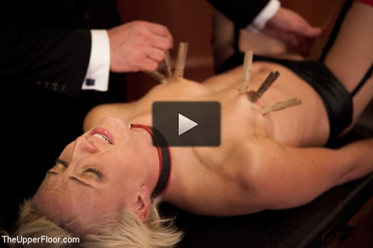 Naked slut submits to electro-torture
