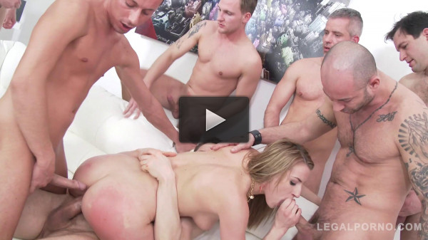 Anal gangbang for hot blond slut