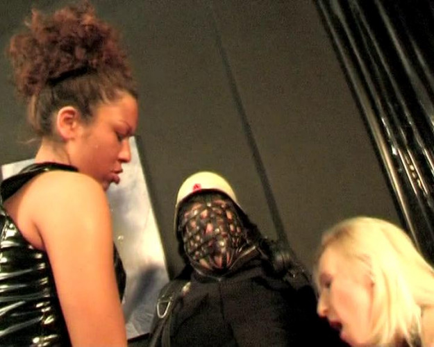 Femdom and Strapon Bossy babes' victim