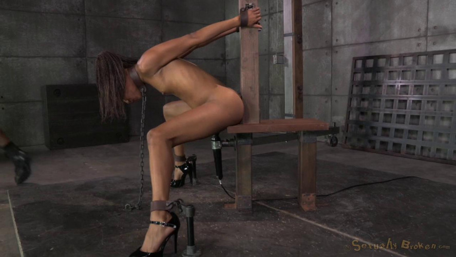 BDSM Toned dancer Nikki Darling strictly shackled and throat trained by 2 hard cocks