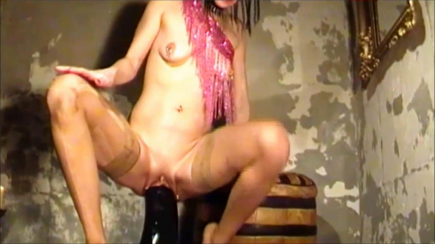 Fisting and Dildo Filling pussy with two massive dildos