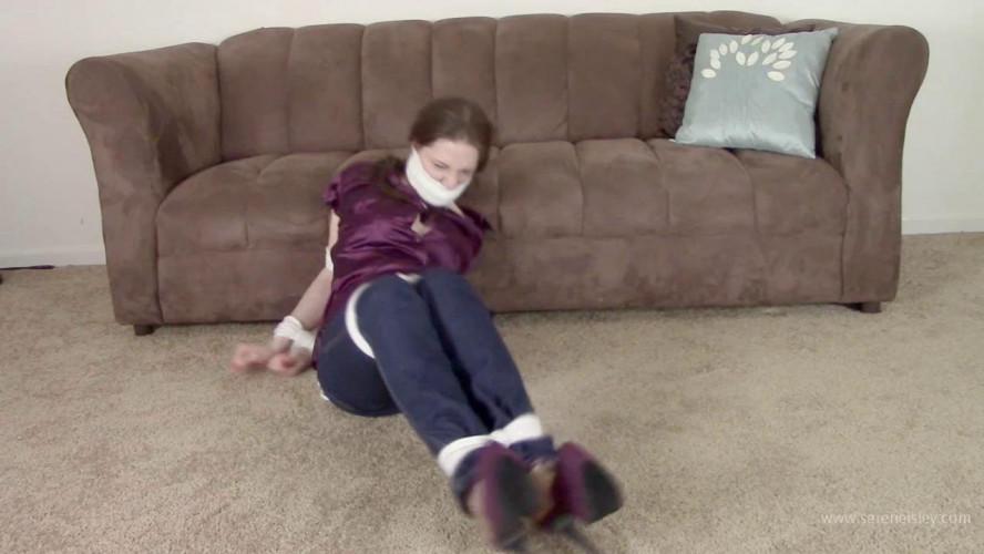 BDSM Tara Tied - Babysitter In Jeans Hogtied