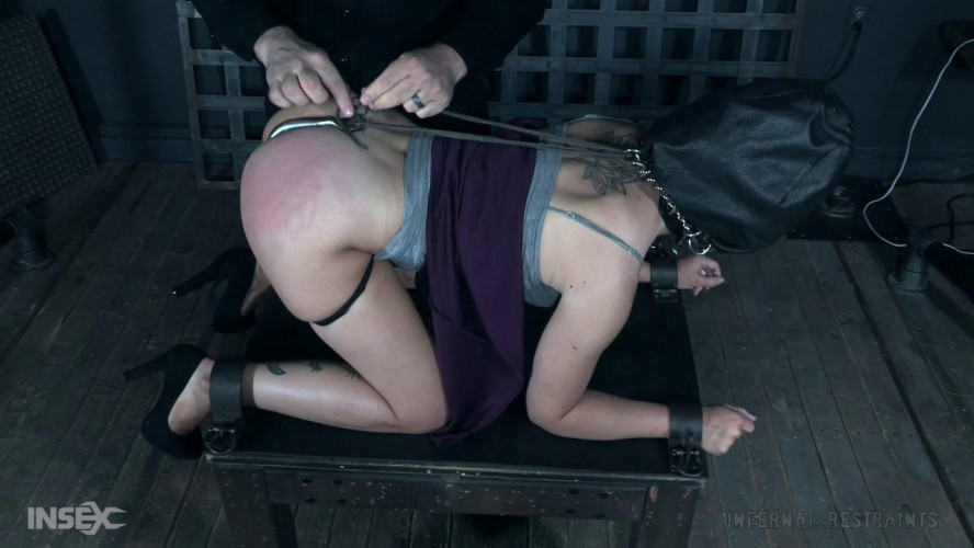 BDSM Jacey tries out hoods