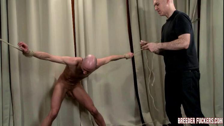 Gay BDSM Drew - Strung up naked, BDSM, cock sucked till erect