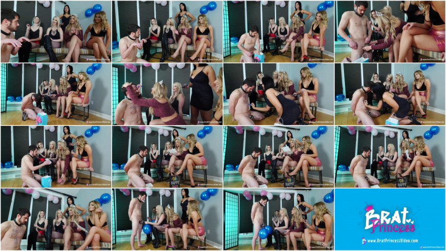 Femdom and Strapon 3 Month Chastity Blue Ball Party