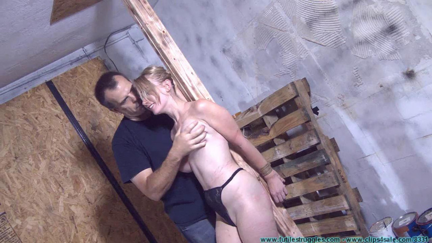 BDSM Allegra HogCuffed, Crotch Chained, then Crotch Roped tight! - Part 2
