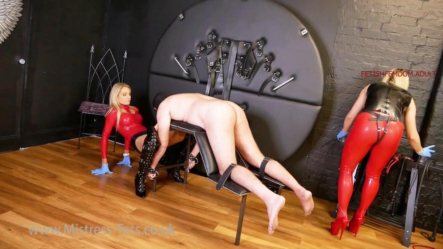 Femdom and Strapon Mistress Tess & Lady Dark Angel - Threatened With A Proper Strapon