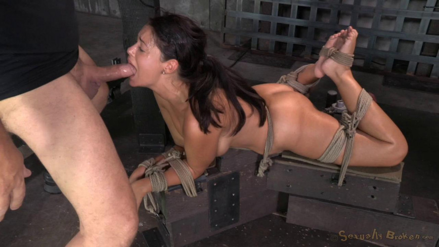 BDSM Ava Dalush bound down on fucking machine, brutal drooling deepthroat multiple orgasms!