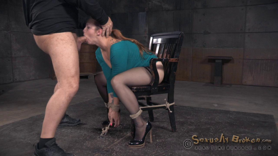 BDSM Big breasted Bella Rossi does breath play and brutal shackled