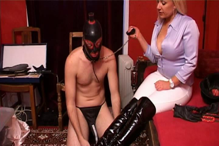 Femdom and Strapon Licking The Boots