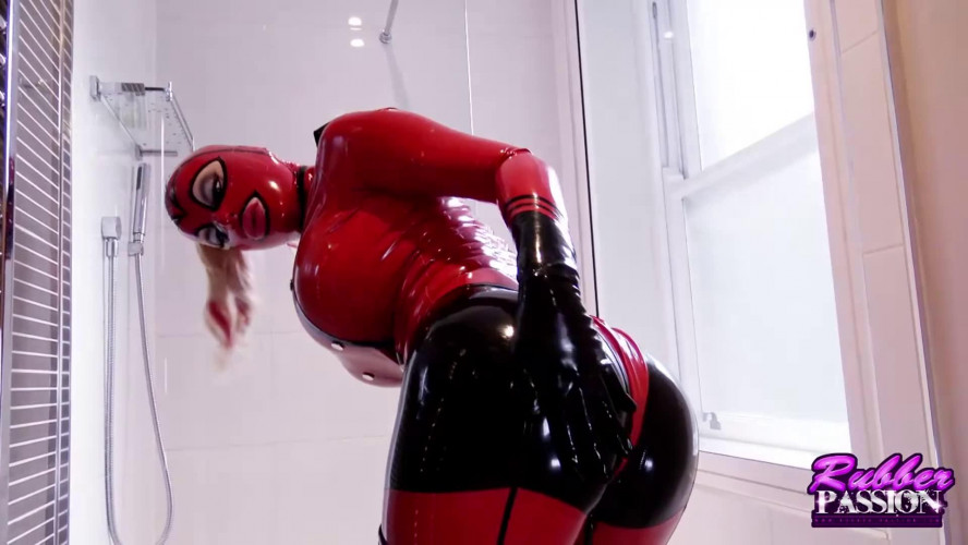 BDSM Latex Super bondage and domination for very horny blonde in latex