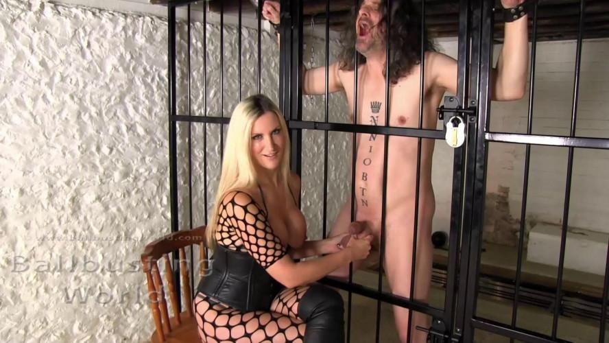 Femdom and Strapon Mistress Nikki Whiplash Sadistic Squeezing For His Big Juicy Balls