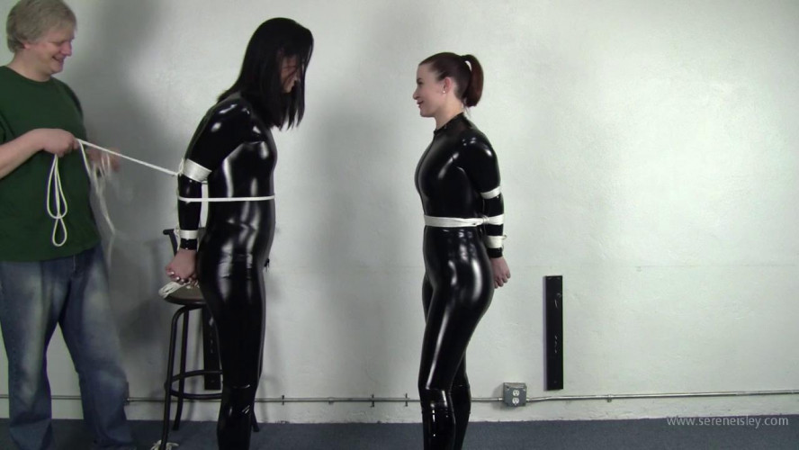 BDSM Latex Belle Davis & Serene Isley - Catsuited Duo Standing Bind