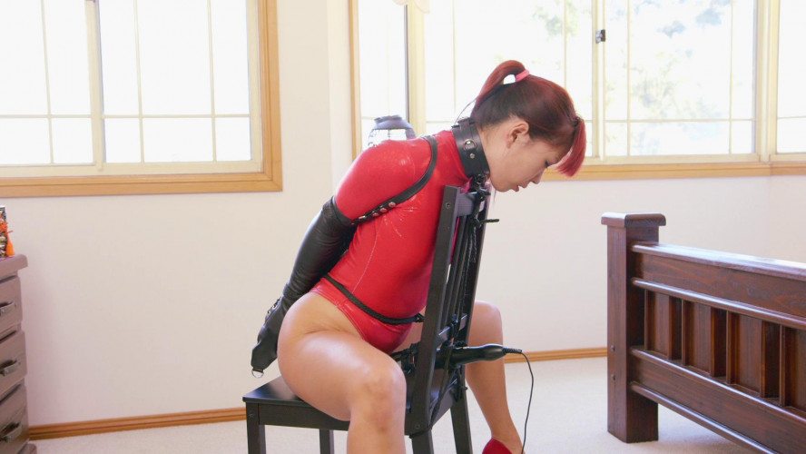 BDSM Chair Bound in Red Thong Bodysuit