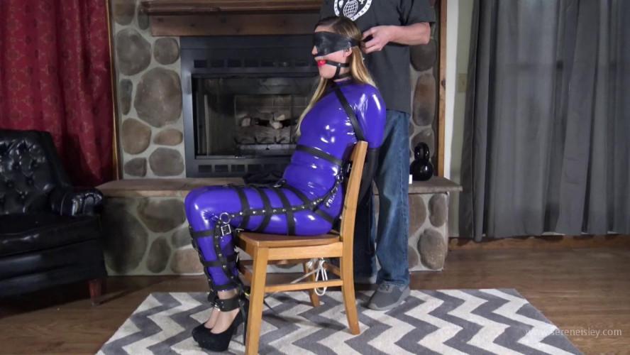 BDSM Latex Ayla Aysel-Purple Sheer Catsuit Hogtie