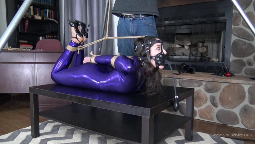 BDSM Latex Arielle Lane - Purple Catsuit and a Strenuous Hogtie