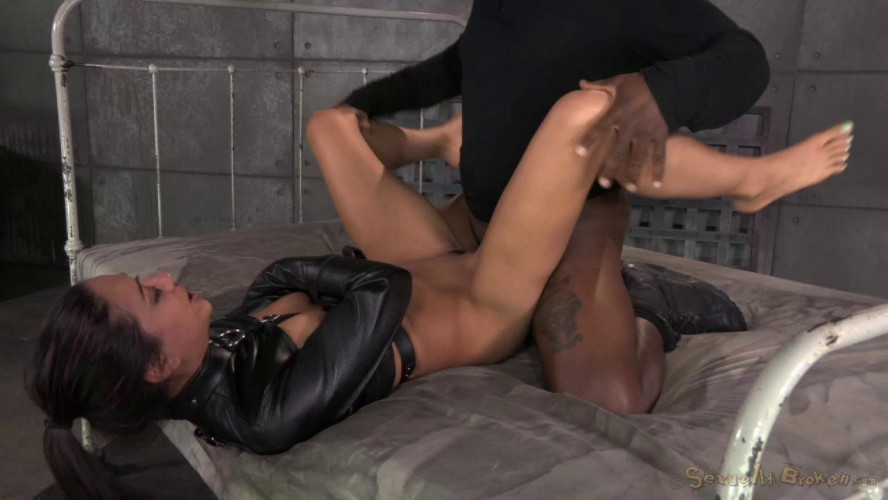 BDSM Lean Latina Lyla Storm bed bound in leather straightjacket