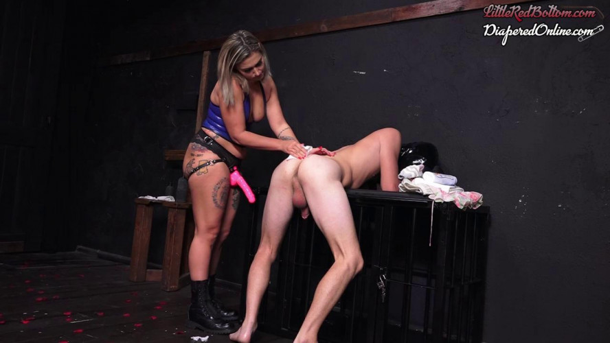 Femdom and Strapon Mistress Red Pegs and Diapers Her New Slave