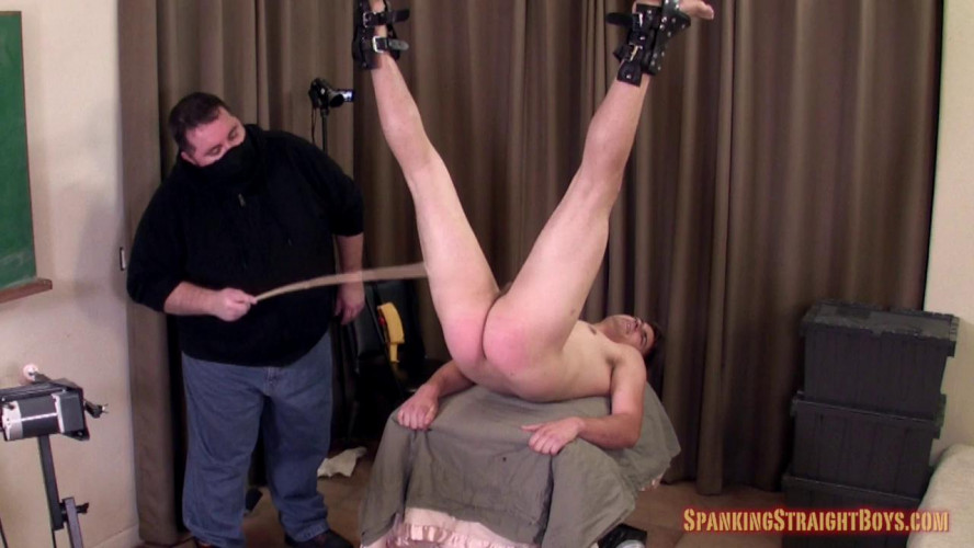 Gay BDSM David Restrained and Caned