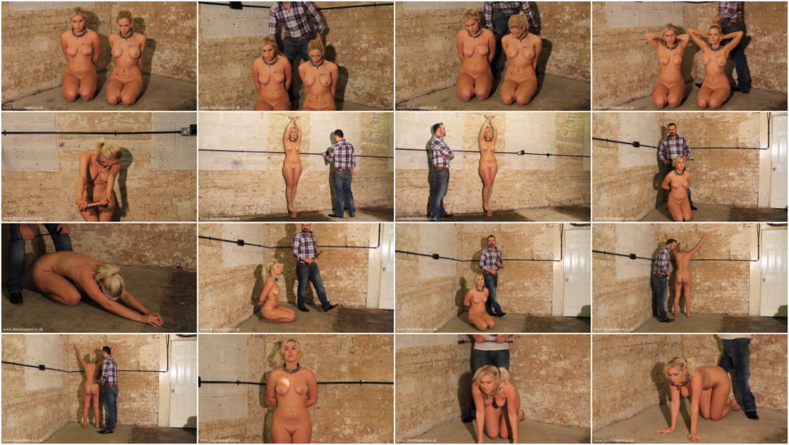 BDSM Tight bondage, domination and spanking for two naked blondes HD 1080