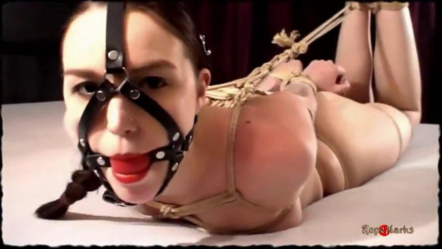 BDSM Super bondage, hogtie and domination for sexy naked brunette
