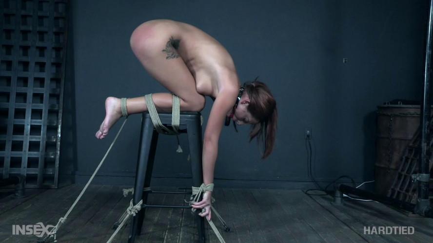 BDSM Scarlett gets induced orgasms in extreme bondage