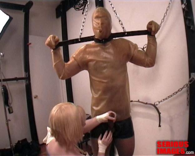 Femdom and Strapon Amber Latex Bondage