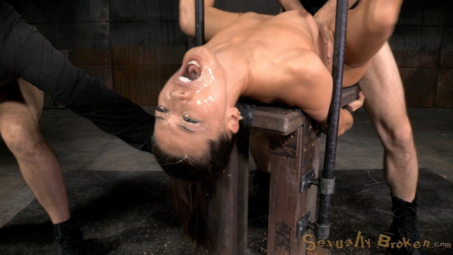 BDSM Unbreakable Kalina Ryu Restrained And Roughly Fucked By Two Cocks!