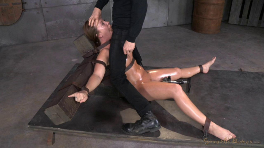 BDSM Maddy O'Reilly gets restrained and throatboarded by 2 huge cocks