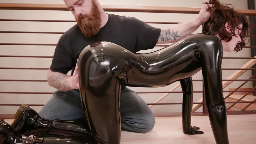 BDSM Latex Bondage, domination and spanking for very sexy girl in latex