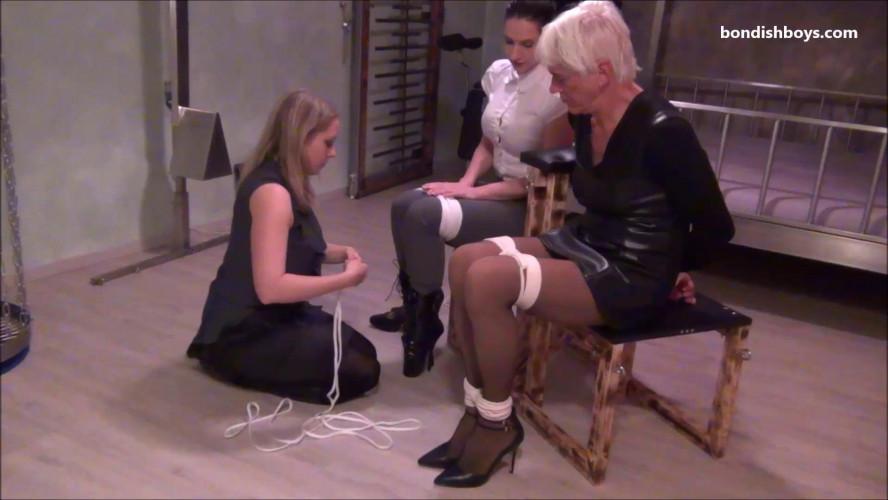 BDSM Funny bondage threesome, girlfriend bound and gagged