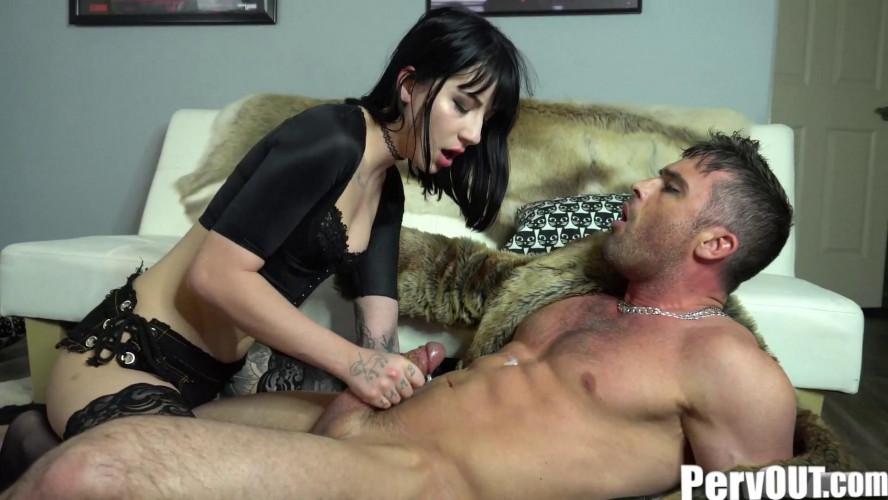 Femdom and Strapon Charlotte Sartre Jerks Off Her Man Hooker