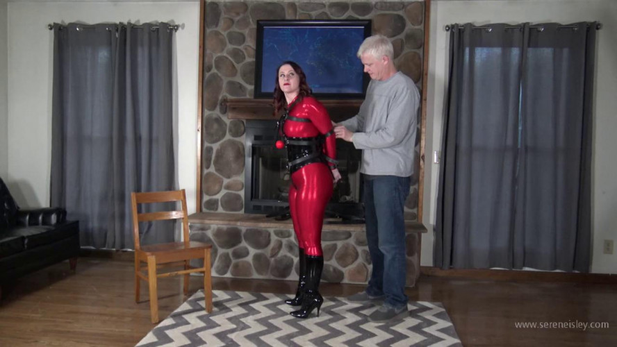 BDSM Latex Serene Isley: Seated Ball Tie