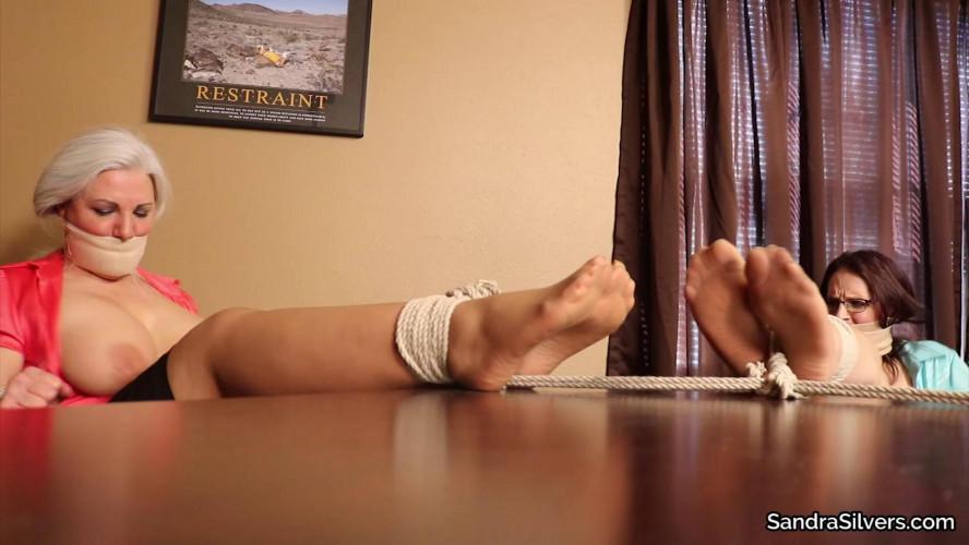BDSM Sandra & Christina Sapphire-Sexy Secretary Silky Secured Soles
