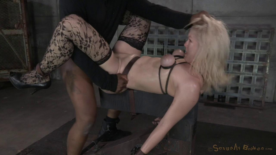 BDSM Beautiful blonde Ella Nova bound, dildoed and deepthroated on BBC!
