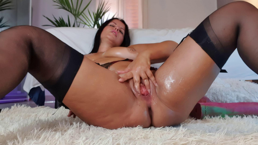 Fisting and Dildo Double dildo in my holes close up
