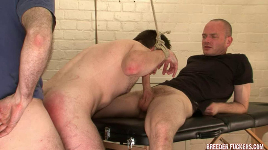 Gay BDSM Rob - Tied with battered arse on show
