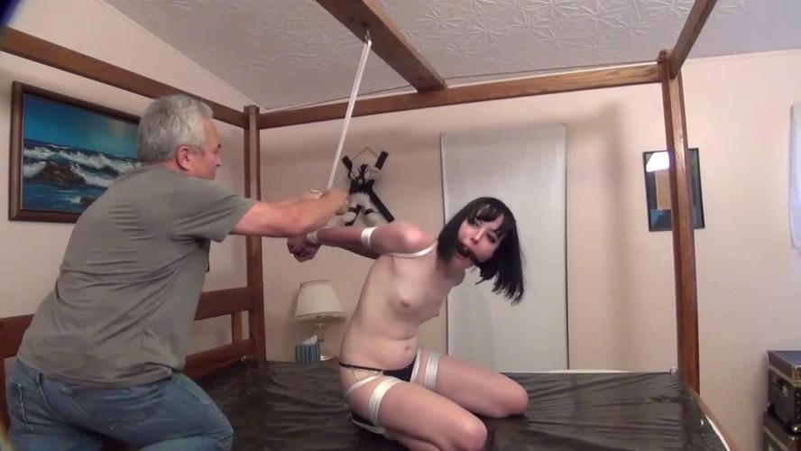 BDSM Tight bondage, spanking and hogtie for sexy naked brunette