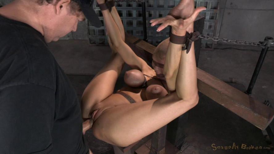 BDSM Huge beasted Rain DeGrey restrained in strict bondage, ASS fucked hard