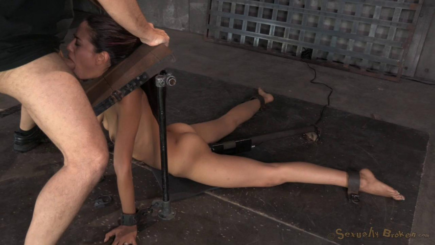 BDSM Lyla Storm  mercilessly throat trained by 2 cocks!