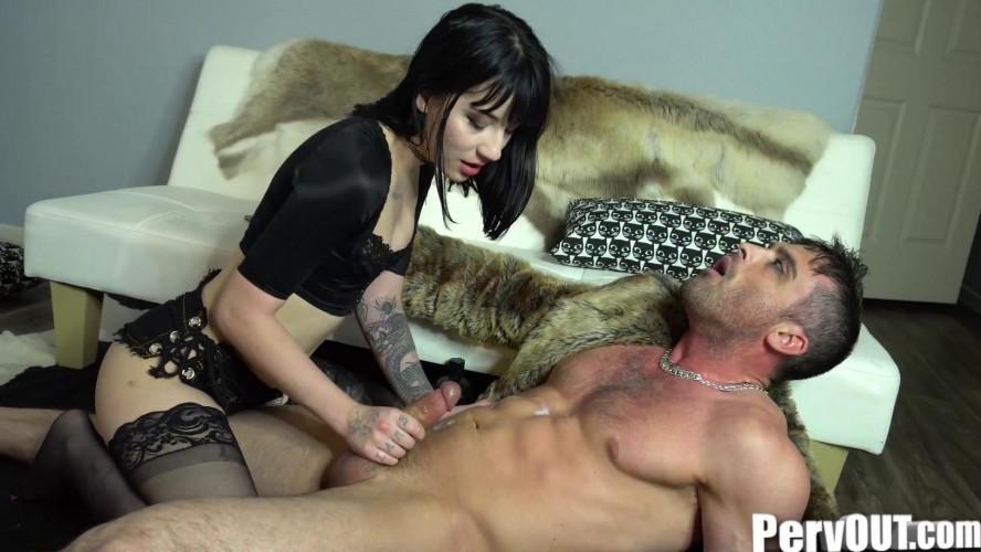 Femdom and Strapon Charlotte Jerks Off Her Man Hooker